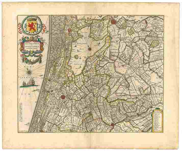 "The Haarlemmermeer on an old map of the ""Hoogheemraadschap van Rijnland"" Atlas Maior, Joan Blaeu, 1665."