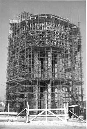 The Polder tower under construction, January 23, 1958.